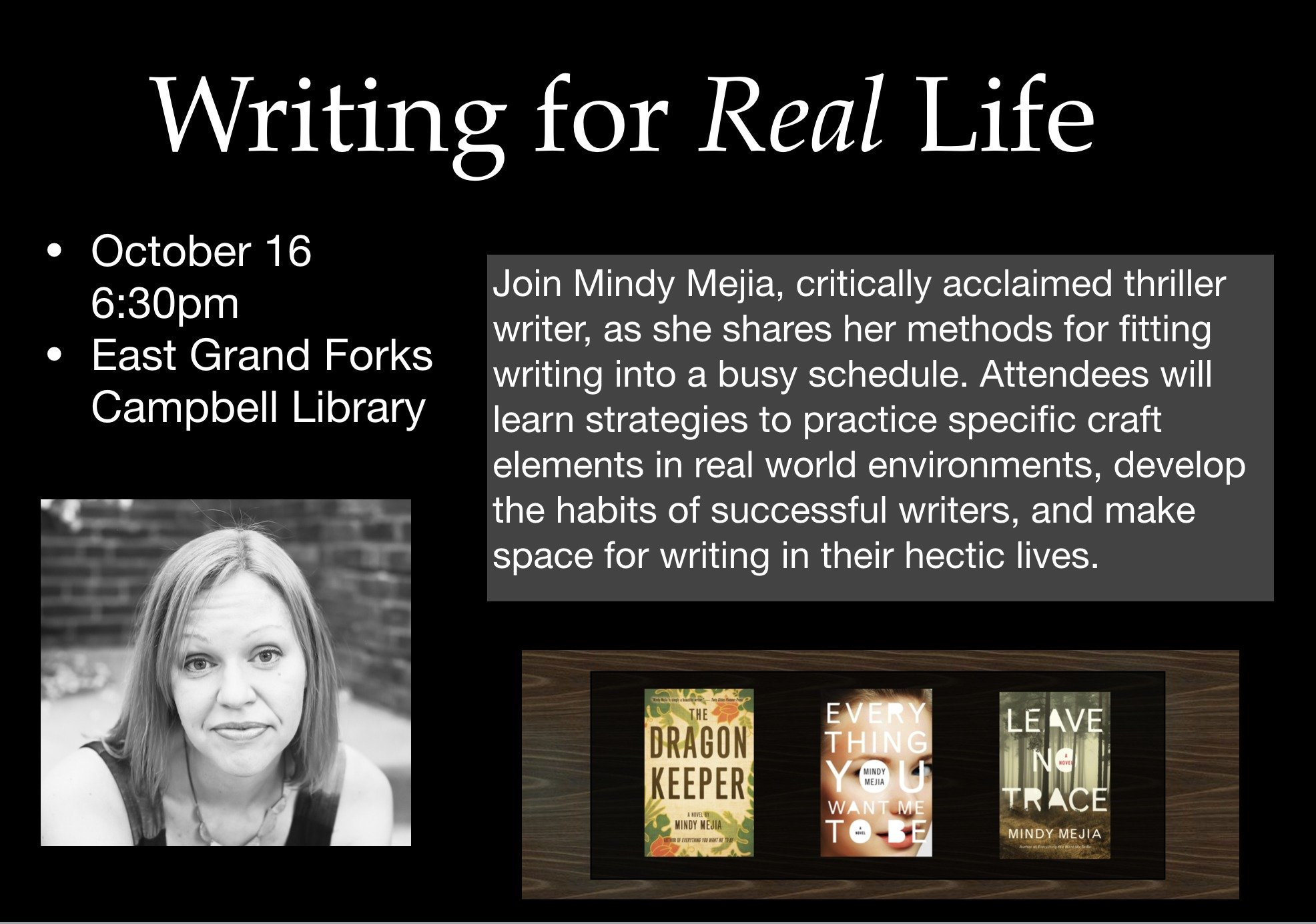 Mindy Mejia, Author, Thriller, Event, Writing For Real Life